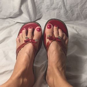 Beautiful red leather Brighton sandals